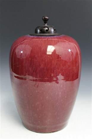 Chinese Ox-blood Glaze Porcelain Jar.