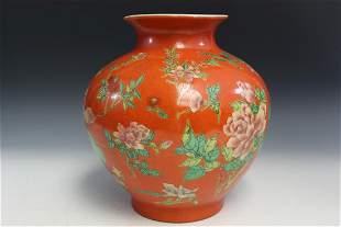 Chinese Enamel Flower Porcelain Jar