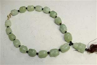 Chinese Carved Celadon Jade Beads Necklace.