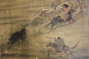 Antique Japanese painting on silk, Hunting scene,