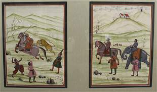 Two Indian painting on silk, framed, hunting scene.