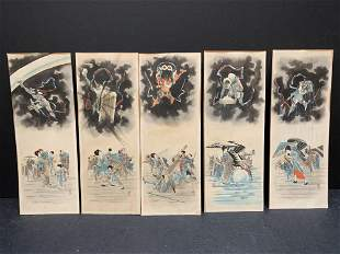 Japanese watercolor on paper - set of 5