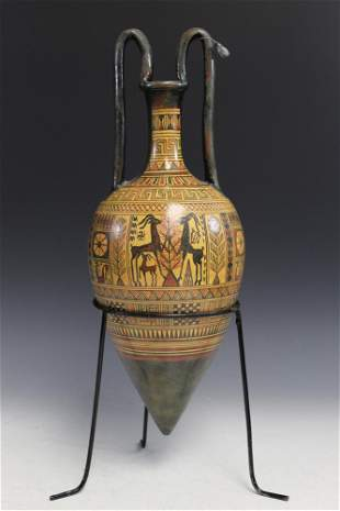 Hand Painted Greek Amphora with Stand