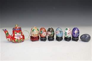 Mini Enameled Teapot and mini cloisonne eggs.