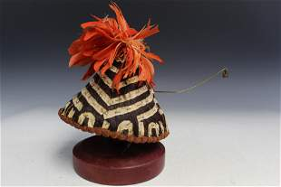Vintage Kuba Chief's Hat with Pin (D R Congo).