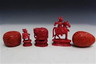 Small Asian Figurines and Cinnaba Box