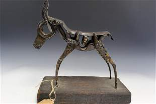 Metal African Impala Sculpture on Wood Stand