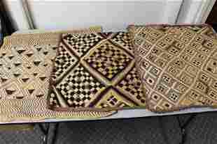 Three Vintage Kuba Shoowa Fabrics.