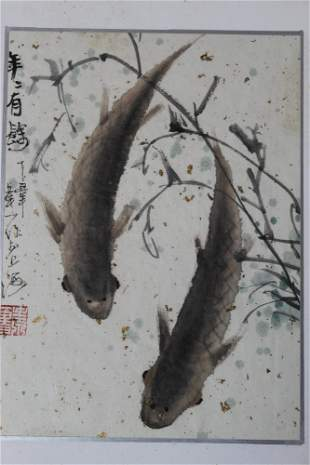 Chinese Ink and Watercolor Painting of Fishes on Paper