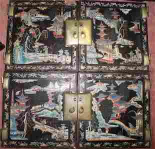 Chinese Painted Wood Cabinet Doors