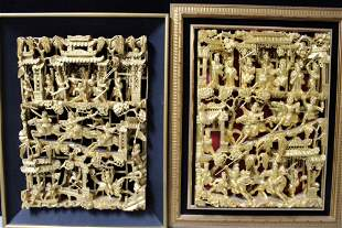 Two Chinese Gilt Carved Wood Panels.