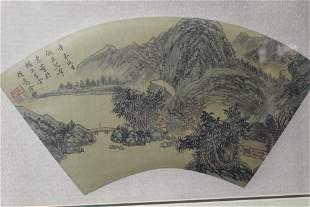 Chinese Watercolor and Ink Painting on Silk Fan