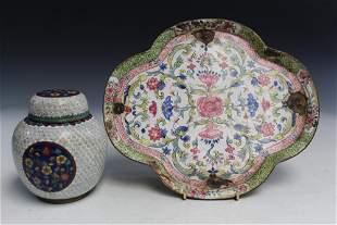 Chinese Enameled Dish and Cloisonne Jar