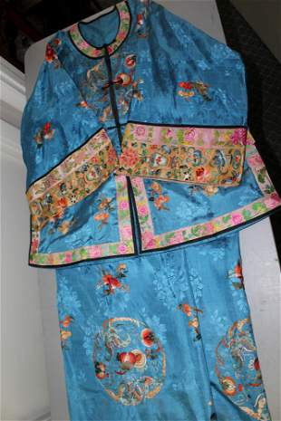 Chinese Embroidery Silk Jacket and Pants.
