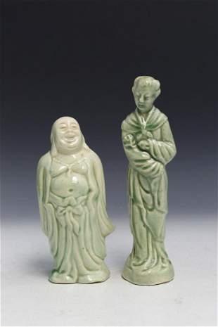 Two Chinese Celadon Glaze Porcelain Figures.