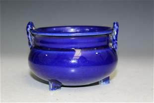 Japanese Cobalt Blue Glaze Porcelain Incense Burner