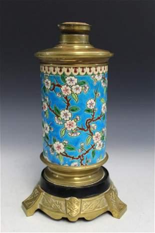 Porcelain Vase on Metal Stand Oil Lamp