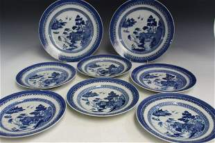 Eight Pieces of Chinese Export Blue and White Porcelain