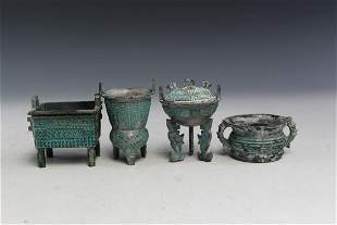 Four Miniature Chinese Bronze Items