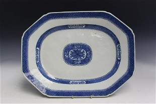 Large Chinese Export Blue and White Platter
