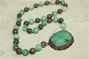 Chinese Silver and Jadeite Beads Necklace and Carved