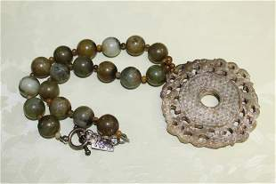 Chinese Jade Pendant and Beads Necklace.