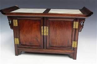 Chinese Rosewood Small Cabinet with Marble Top.