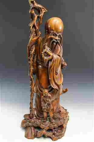 Chinese Carved Wood Figure.
