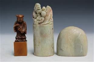 Three Chinese Soapstone Seals