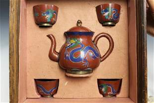 Chinese Cloisonne Teapot and Cups Set in Wood Box