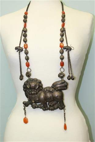 A very rare Chinese silver necklace with large silver