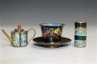 A Group of Chinese Cloisonne Items