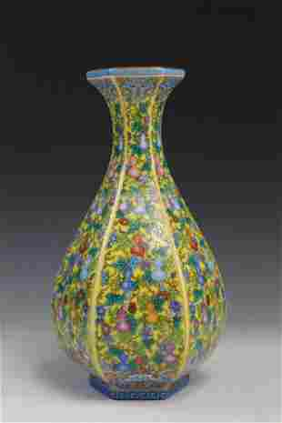 Chinese famille rose porcelain vase, Yongzheng mark.