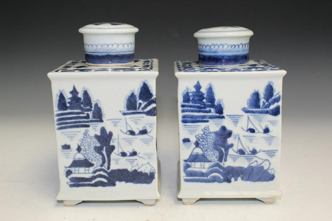 Pair of Chinese Export Canton Style Tea Caddies.