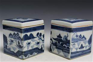 Pair of Chinese Export Canton Style Porcelain Boxes.