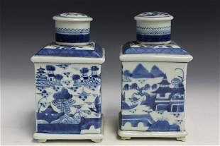 Pair of Chinese Export Canton Style Porcelain Tea