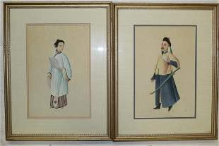 Pair of Chinese Watercolor Paintings of Court Officers.