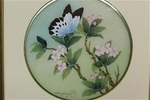 Chinese Watercolor Painting of Butterfly on Silk.