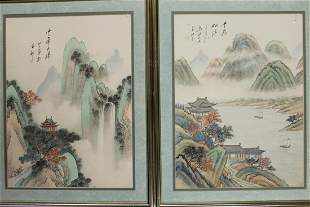 Pair of Chinese Watercolor paintings of landscape on