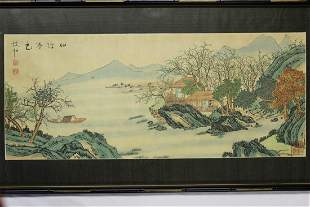 Chinese Watercolor painting of River Scene.
