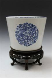 Chinese Blue and White Porcelain Planter with Wooden