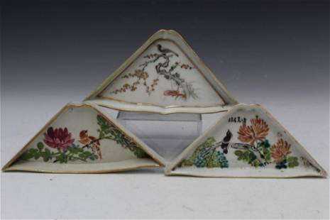 Three antique Chinese famille rose porcelain sectional