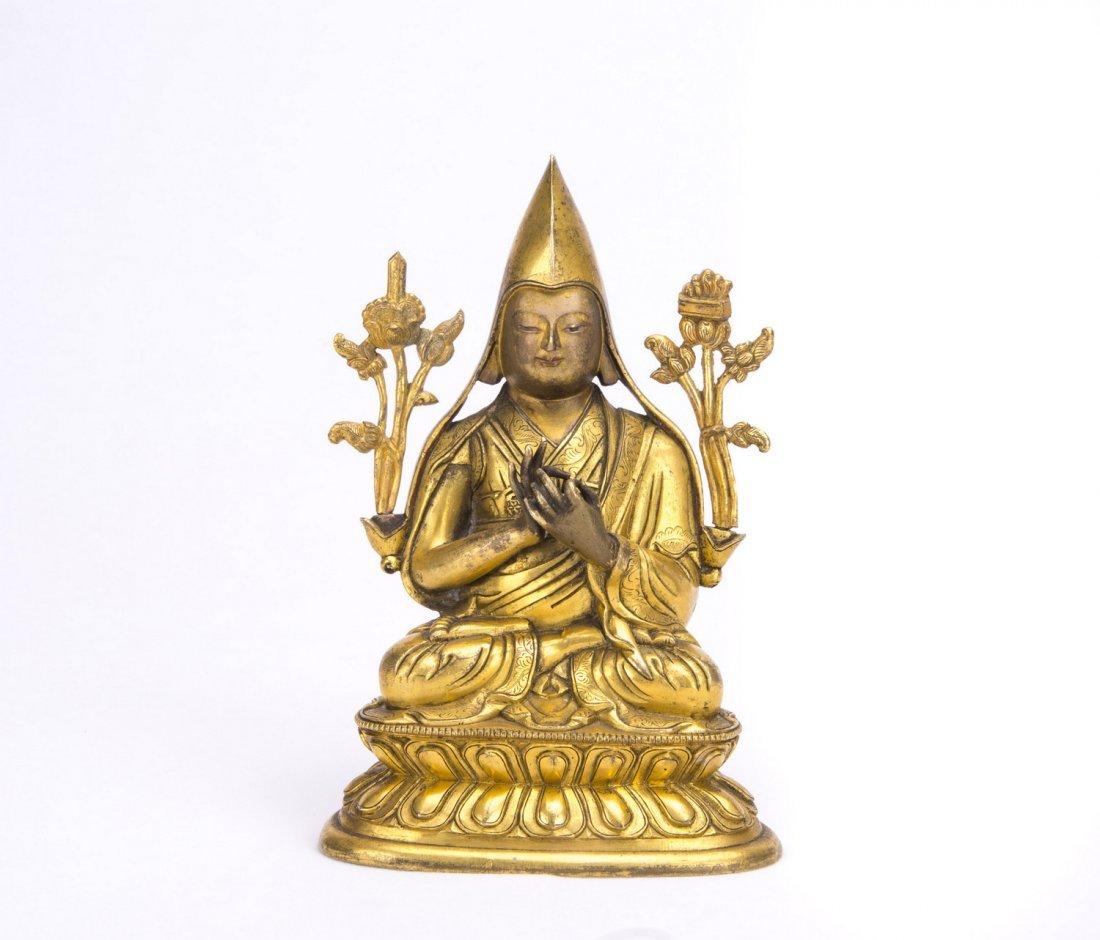 Gilt Bronze Figure of Tsongkhapa