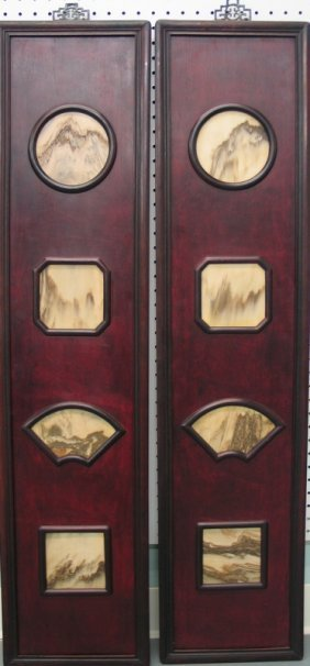 Pair Of Chinese Antique Marble Inlaid Rose Wood Wall