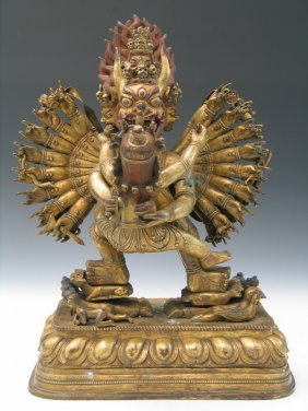 Large Gilt Bronze Figure Of Yamantaka