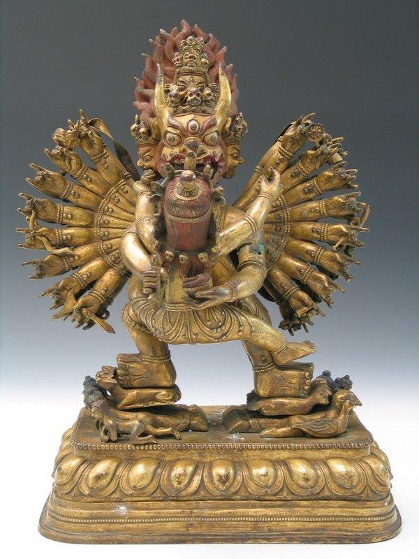 Large Gilt Bronze Figure of Yamantaka