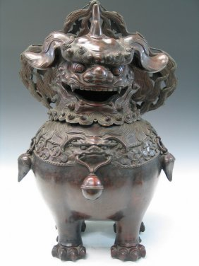 Large Chinese Bronze Incense Burner Of A Foo Dog.