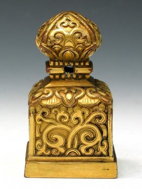 Tibetan Gilt Bronze Seal