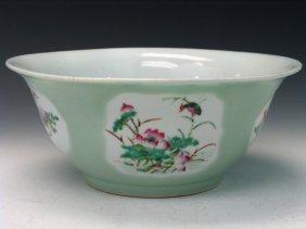 Big Chinese Celadon Glazed Famille Rose Porcelain Bowl