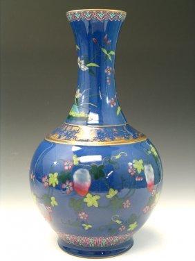 Chinese Powder Blue Glazed Famille Rose Porcelain Vase,